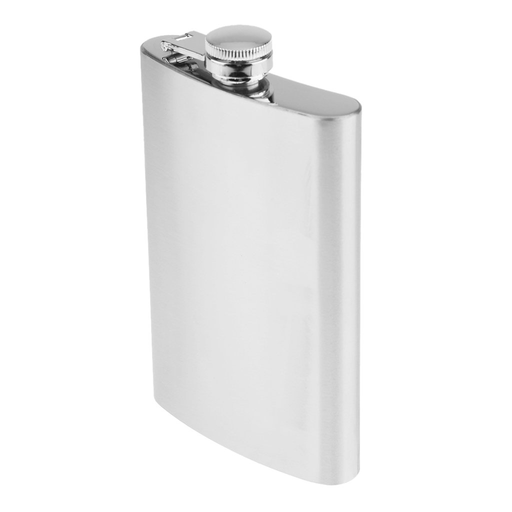 D DOLITY 1oz ~ 18oz Stainless Steel Alcohol Flagon Portable Hip Flask Whiskey Bottle Drinkware - Silver, 1oz 28ml