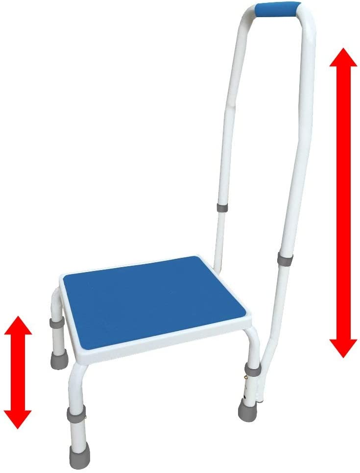 AdjustaStep tm Deluxe Step Stool Footstool with Handle Handrail, Height Adjustable. 2 Products in 1. Modern White Blue Design. New for 2016.