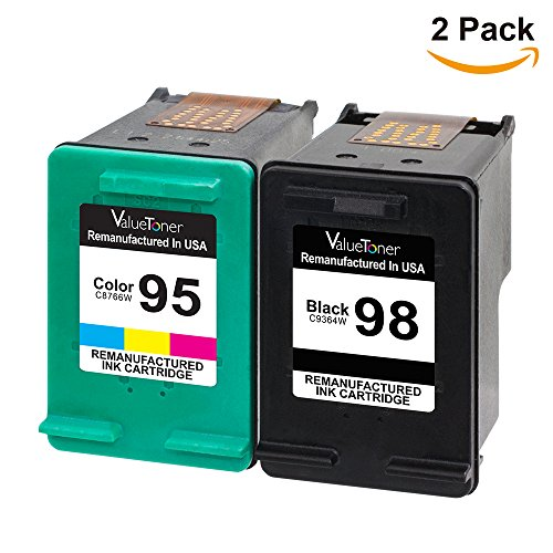 Valuetoner Remanufactured Ink Cartridge Replacement For Hewlett Packard HP 98 & HP 95 CB327FN C9364WN C8766WN (1 Black, 1 Tri-Color) 2 Pack