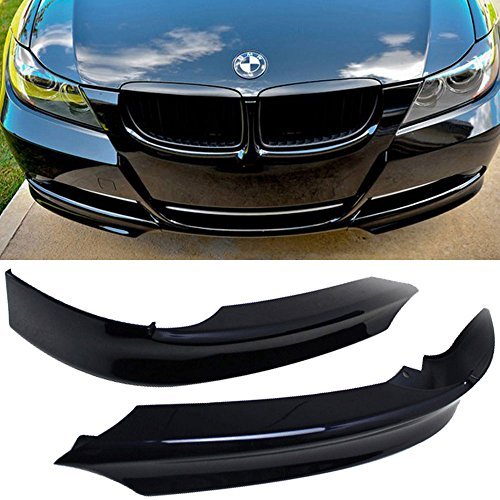 Pre-painted Front Splitter Lip Fits 2006-2008 BMW 3 Series E90 | OE Style PP OEM Painted #475 Sapphire Black Front Lip Other Color Available By IKON MOTORSPORTS | (Black Front Lip)