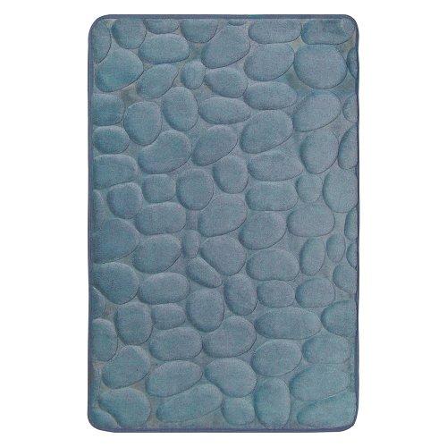 Smoke Blue Memory Foam Bath Mat Set : 17