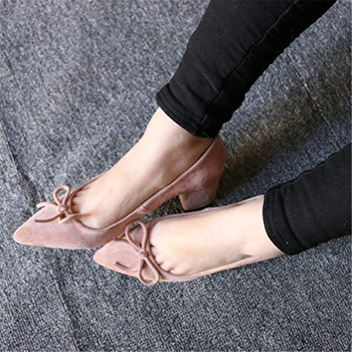 Pointu Mariage Rose de Femmes Place Chaussures Pompes Bout Talon Forme Chaussures Troupeau de Med Mode Plate 88q6a
