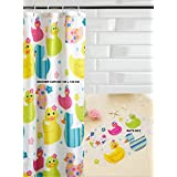 New PVC Duck Design Clear Quackers Kids / Childs Bath Shower Non Slip Suction Mat & Polyester Shower Curtain (180 x180 cm) by Deco Trading