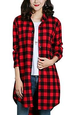 Gihuo Women's Casual Mid-Long Boyfriend Long Sleeve Loose Button Down Plaid Shirt