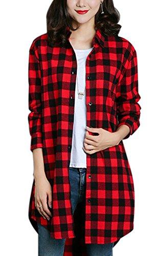 Gihuo Womens Casual Mid-Long Boyfriend Long Sleeve Loose Button Down Plaid Shirt