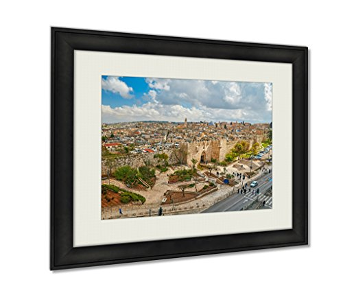 Ashley Framed Prints View To Damascus Gate And Old Jerusalem City Artwork Decoration Photo Print Wood Frame with Matte, kitchen living room bedroom 20x25 art by Ashley Framed Prints