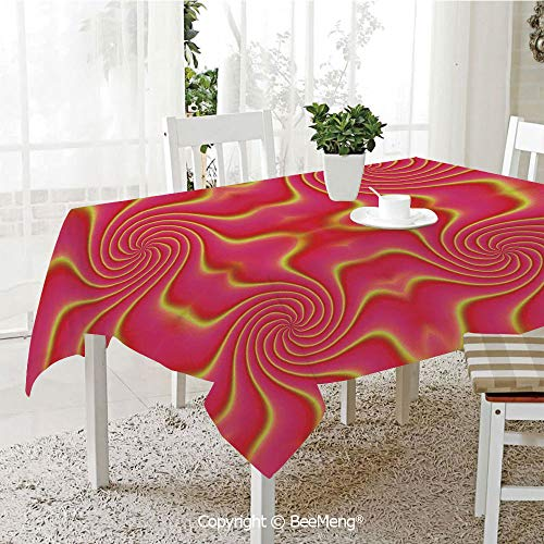 BeeMeng Dining Kitchen Polyester dust-Proof Table Cover,Spires Decor,Digital Pop Art Produced Figural Expanding Shady Lines and Nested Shape Design,Red Yellow,Rectangular,59 x 59 inches