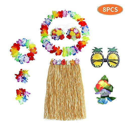 (Teepao Hula Skirt Kit, 8 Pcs Hula Dancing Skirt Set Elastic Plastic Hula Grass Skirt Set for Youth and Adult)