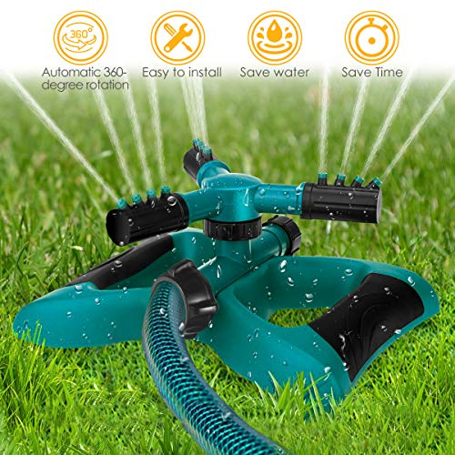 - FITMAKER Garden Sprinkler, 360° Rotating Adjustable Lawn Sprinkler Irrigation System with Leak Free Design, Easy Hose Connection Garden Irrigation for Lawn, Courtyard, Garden (Advanced)