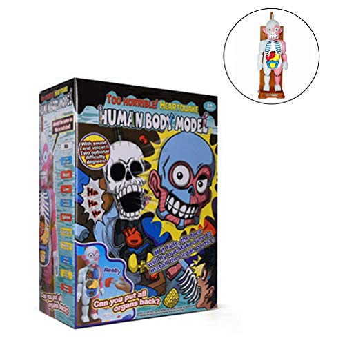 Prettywan Human Body Organ Model,Horror Spoof Tricky Toys with Background Music Table Desktop Game Horror Educational Game Toy,Included 16 Pcs Play Cards