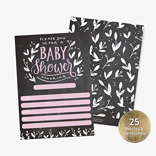 25 Baby Shower Invitations Girl with Envelopes, Modern Pink Handlettered Chalkboard Baby Shower Fill-in Style Invitation, Pink Baby Girl Shower Invitations]()