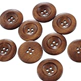 Godagoda Coffee Round Shape 4 Holes Wooden Buttons Pack of 50pcs