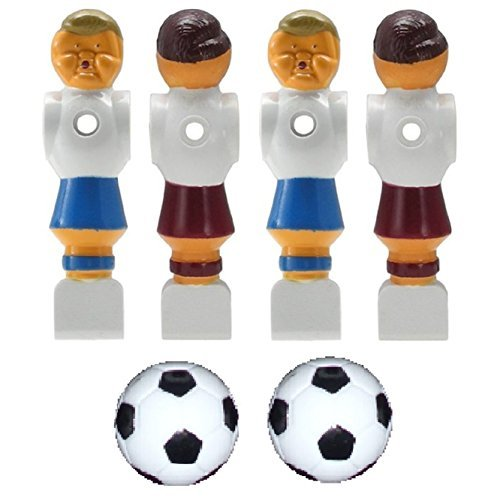 4 Old Style Red and Blue Foosball Men and 2 Soccer Balls