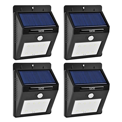 Cheap (4-pack) 8 LED Solar Motion Sensor Light, Waterproof Outdoor Wireless Sun Powered Security Motion Detector Lights for Patio, Deck, Yard, Garden,Driveway,Outside Wall