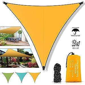 Toldo Vela de Sombra Triangular, Vela de Sombra Triangular 3x3x3, Impermeable Toldos protección Rayos UV y HDPE Transpirable para Patio Exteriores Jardín (3 x 3 x 3 M, Naranja)