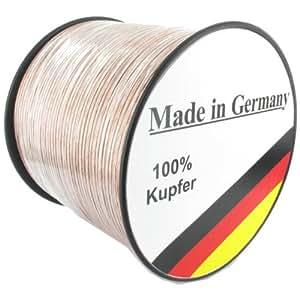 Rollo de cable para altavoz (2,5 mm², 30 m, calidad fabricada en Alemania, cobre puro), transparente