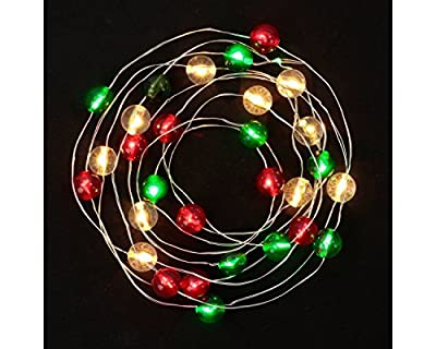 Philips 30ct Christmas Battery Operated LED Globes Dewdrop Fairy String Lights - Red, Green and Clear