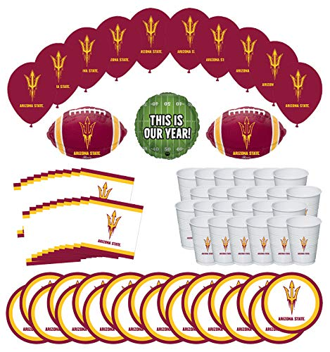Arizona State University Party Supplies (Mayflower Products Arizona State University Sun Devils Football Tailgating Party Supplies for 20 Guest and Balloon Bouquet)
