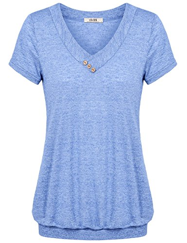 Vivilli Short Sleeve Tunic Tops, Women's V Neck Blouse Stentchy Soft Comfy Work Tee Shirt Tops Blue Medium