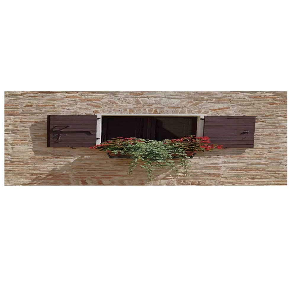 """Tuscan Dustproof Electric Oven Cover,Antique Looking Window on an Ancient Stone Wall with Flowers Pienza Tuscany Picture Cover for Kitchen,36""""L x 12""""W"""