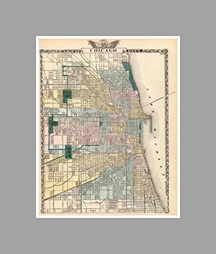Chicago - Vintage City Maps Matte Poster Print Wall Art