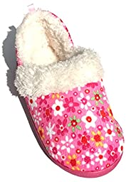 Pink Flowers Toddler Girls Slippers Size Small 5-6