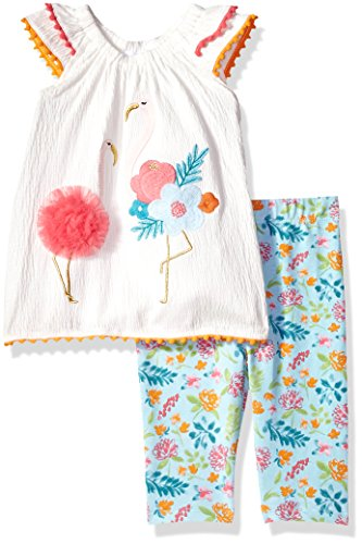Mud Pie Baby Girls Flamingo Flutter Sleeve Tunic and Capri 2 Pc Playwear Set, White, 5T - Crinkle Capri Set