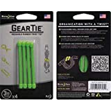 Nite Ize Reusable Rubber Twist Ties Lime Carded 4 / Pack