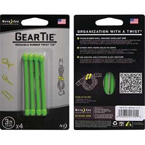 Nite Ize Reusable Rubber Twist Ties Lime Carded 4 / Pack (Assortment Carded)
