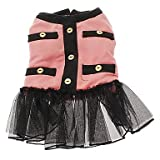 Graceful Warm Cotton Coat with Chiffon Dresses for Dogs Cats Red