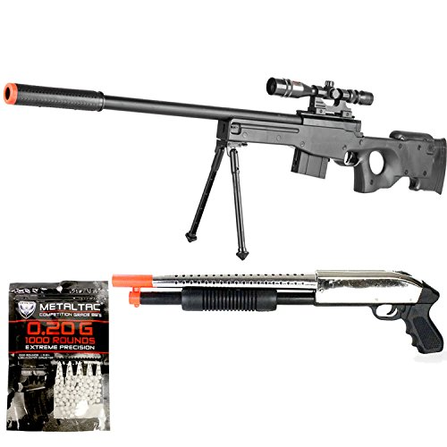 BBTac Airsoft Gun Package - The Top American Sniper - Powerful Spring Sniper Rifle, Shotgun, and BB Pellets, Great for Starter Pack Game Play