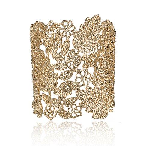 LUREME Vintage Metal Lace Pattern Etched Leaf Hollow Bangle Bracelet for Women-Gold (bl003124-1)