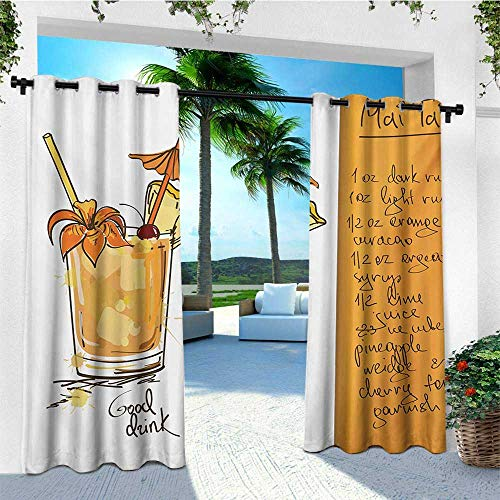 - leinuoyi Tiki Bar, Outdoor Curtain Extra Wide, Hand Drawn Style Mai Tai Cocktail in a Glass and The Recipe Hawaiian Drink, for Patio Waterproof W120 x L108 Inch Orange and White