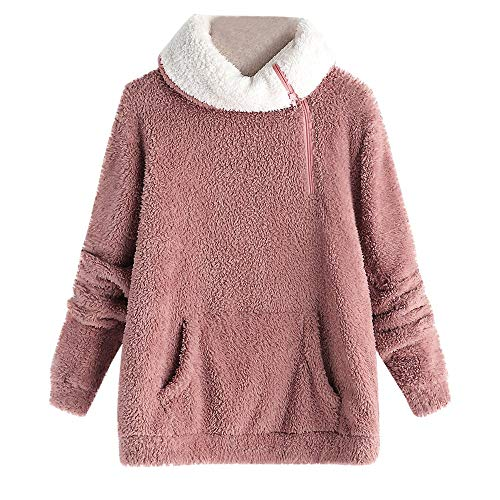 Womens Warm Fuzzy Hooded Fleece Sweatshirt Casual Solid Fluffy Hoodie Pullover Tops