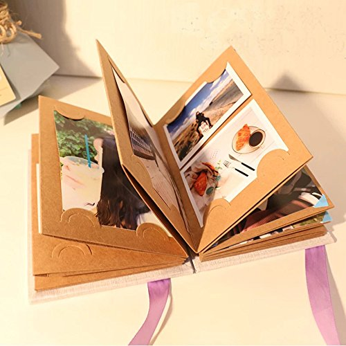 Agirlvct DIY Photo Album Scrapbook,Adhesive Memory Book Hand Made,Stretchable Folding Hardcover 4X6 Travel Picture Kraft Paper Mini Notebook Gift for Chirstmas Anniversary Wedding Birthday Baby