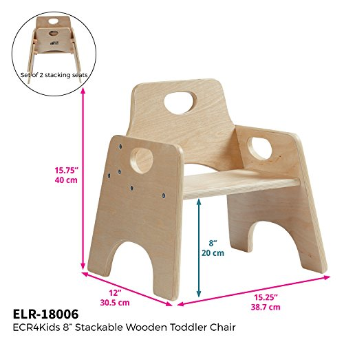 "ECR4Kids 8"" Stackable Wooden Chair for Toddlers - Sturdy Hardwood Seat for Daycare/Preschool/Home Furniture -�Natural Finish (2-Pack)"