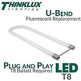 Thinklux LED T8 U-Bent Tube Light 2x2, 2 Foot, 5000K, DirectFit T8 Ballast Compatible