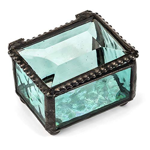 J Devlin Box 325 Series Mini Stained Glass Ring Box (Aquamarine Blue)