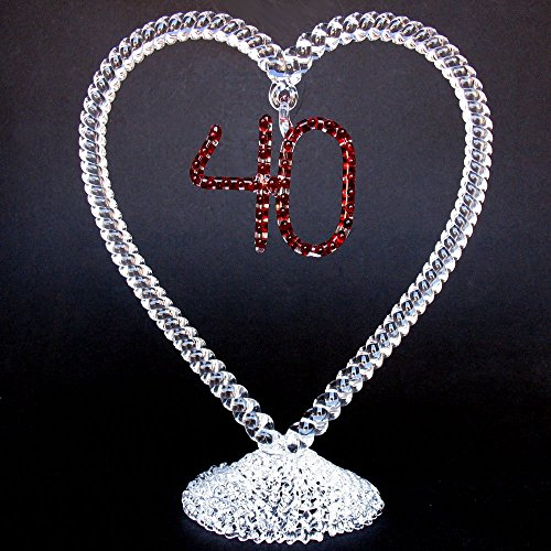 40th Anniversary Ruby Wedding Cake Topper of Hand Blown Glass -