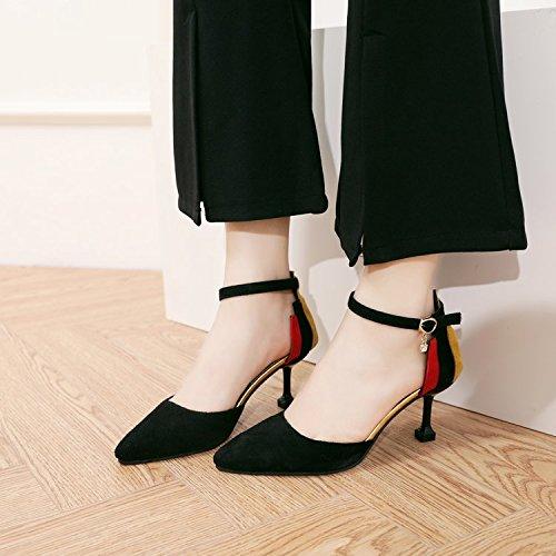 Xue Qiqi Wild Baotou Baotou Baotou tipp Sandalen weiblichen fein mit geschlitzten Befestigungen buchstabiere Farbe Schuhe mit hohen Absätzen bce95b