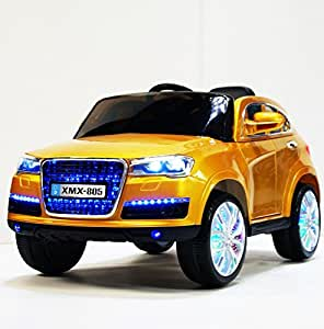 RIde On Powered Car Power Wheels 12 Volt Battery Powered Ride in Car Audi Q7 Style | LED wheels | MP3 Jack | Remote Control - Gold