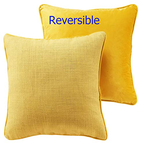 Yesterdayhome Decorative Throw Pillow Covers 16x16 Yellow - Set of 2 - Reversible Soft Velvet Sofa Pillow Covers Lemon Yellow for Home Decor Car