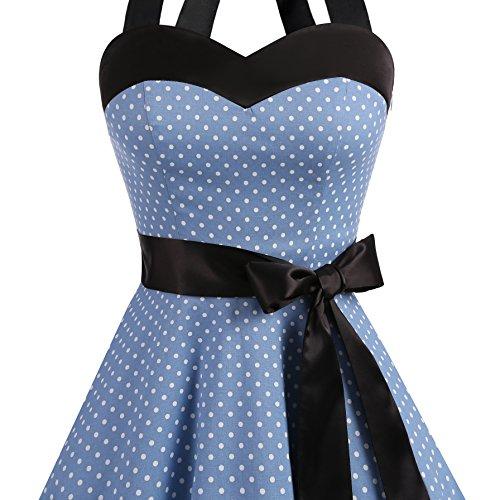 Dot 1950 allacciatura di al Dresstells collo cocktail White polka con Audrey Hepbun Small dots Donne vestito Blue Vintage TYYz5x