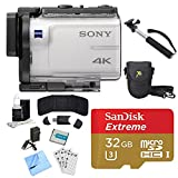 Sony FDR-X3000 4K GPS Action Camera, Selphie Stick, 64GB Card, and Accessory Bundle - Includes Camera, Selfie Stick, 32GB micro Memory Card, Carrying Case, Battery, Battery Charger, and More