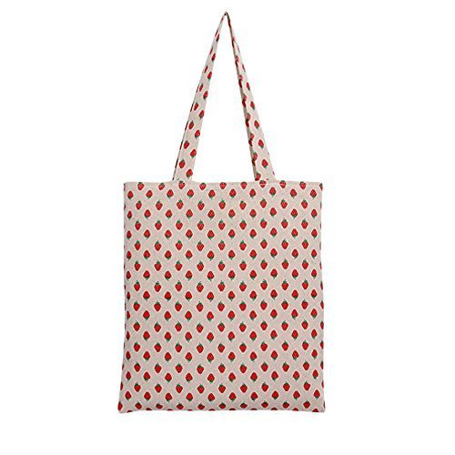 Caixia Women's Cotton Strawberry Print Canvas Tote Shopping Bag Light Brown -