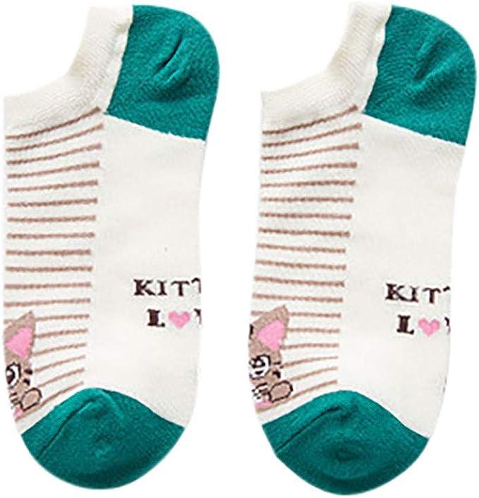 QinMMROPA 5 pares calcetines cortos de algodón para mujer anime rayas calcetines bajo tobilleros transpirables calcetines verano deporte: Amazon.es: Ropa y accesorios