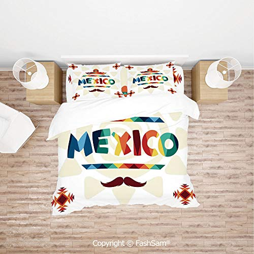 FashSam 4 Piece Bedding Sets Breathable Mexico Traditional Aztec Motifs and Sombrero Straw Hat Moustache Graphic for ()