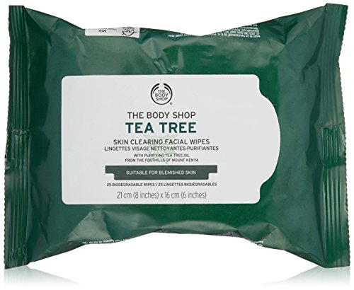 The Body Shop Tea Tree Cleansing Wipes, Made with Tea Tree Oil, 100% Vegan, 25 wipes