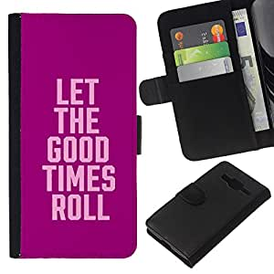KingStore / Leather Etui en cuir / Samsung Galaxy Core Prime / Collège Spring Party texte Pause
