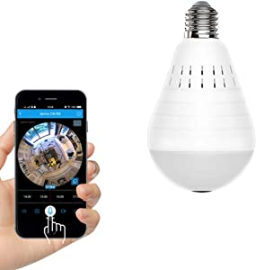 SAFE-HOME 360 Degree Two Way Audio White Light Bulb Panoramic 960P Full Color Wireless Smart IP Camera Support 128g